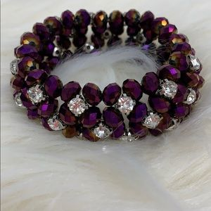 Crystal & purple sparkling gem expandable bracelet
